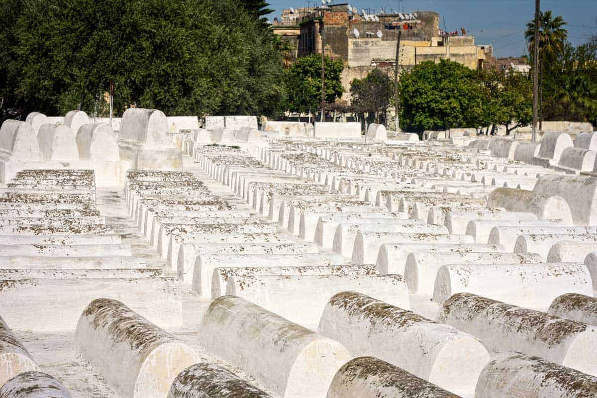 White graves in the Jewish cemetery in Mellah, the Jewish quarter in Fez Morocco