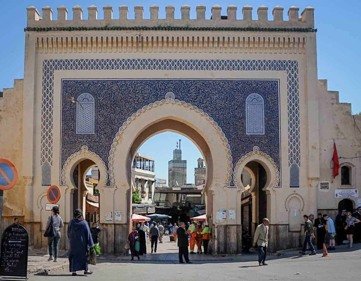 the gates of the Fez Medina - Bab Bou Jeloud with the colourful ands intricate tiles