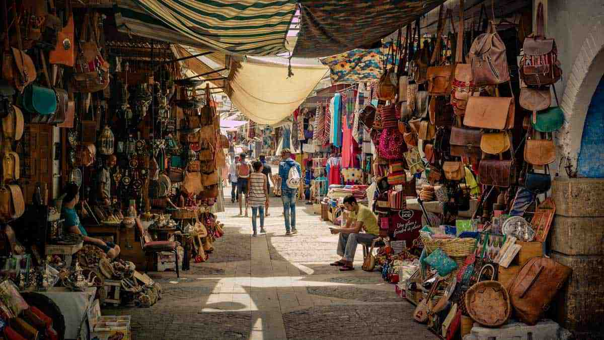 Leather is one of the most popular things to buy in Morocco like in the market place full of leather stores