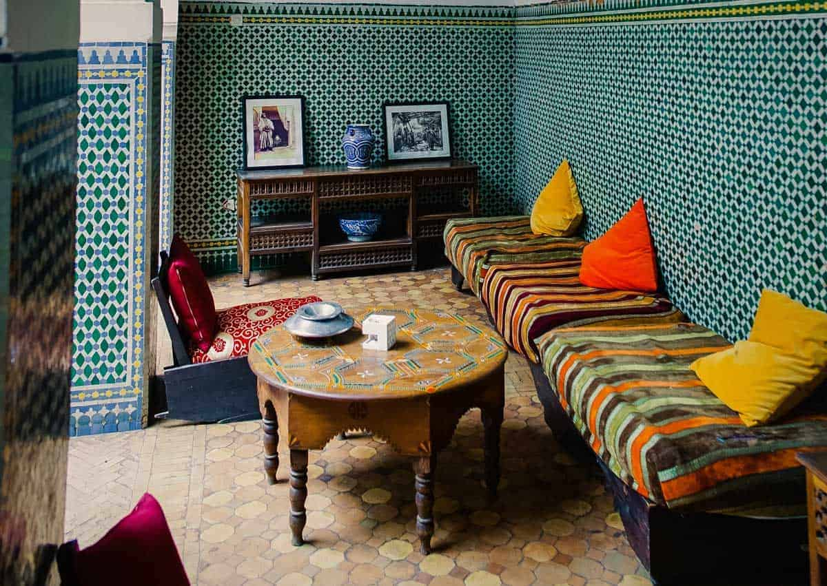 A typical Riad in Morocco. A riad is the best place to stay in Fez