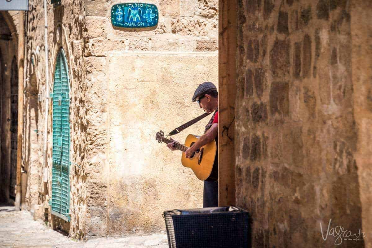 Busker in the city of Jaffa Israel