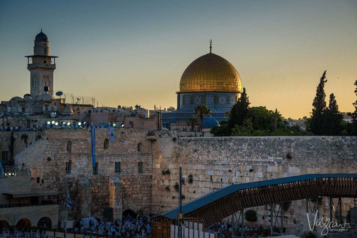 Tours of Israel - Jerusalem. Dome on the Rock over the Western Wall at sunrise