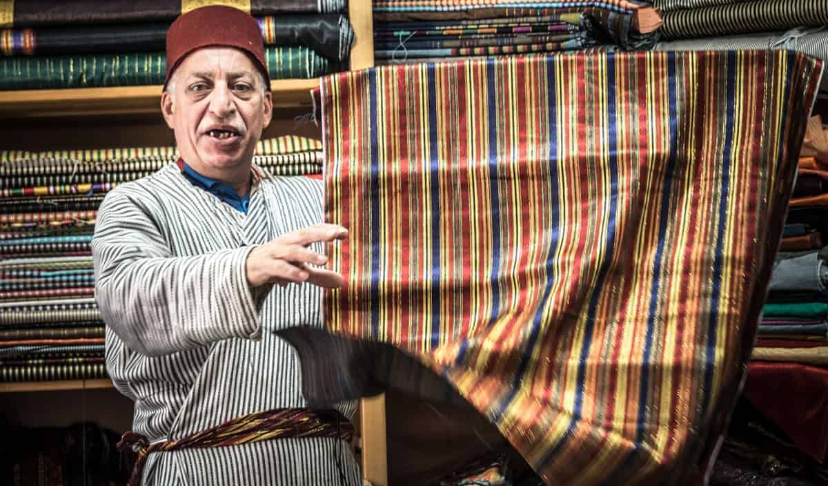 Guided Tours of Israel - Fabric merchant in Old Jerusalem