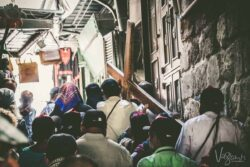 Pilgrimage to Israel - Walking the Via Delorosa where jesus walked. The stations of the cross
