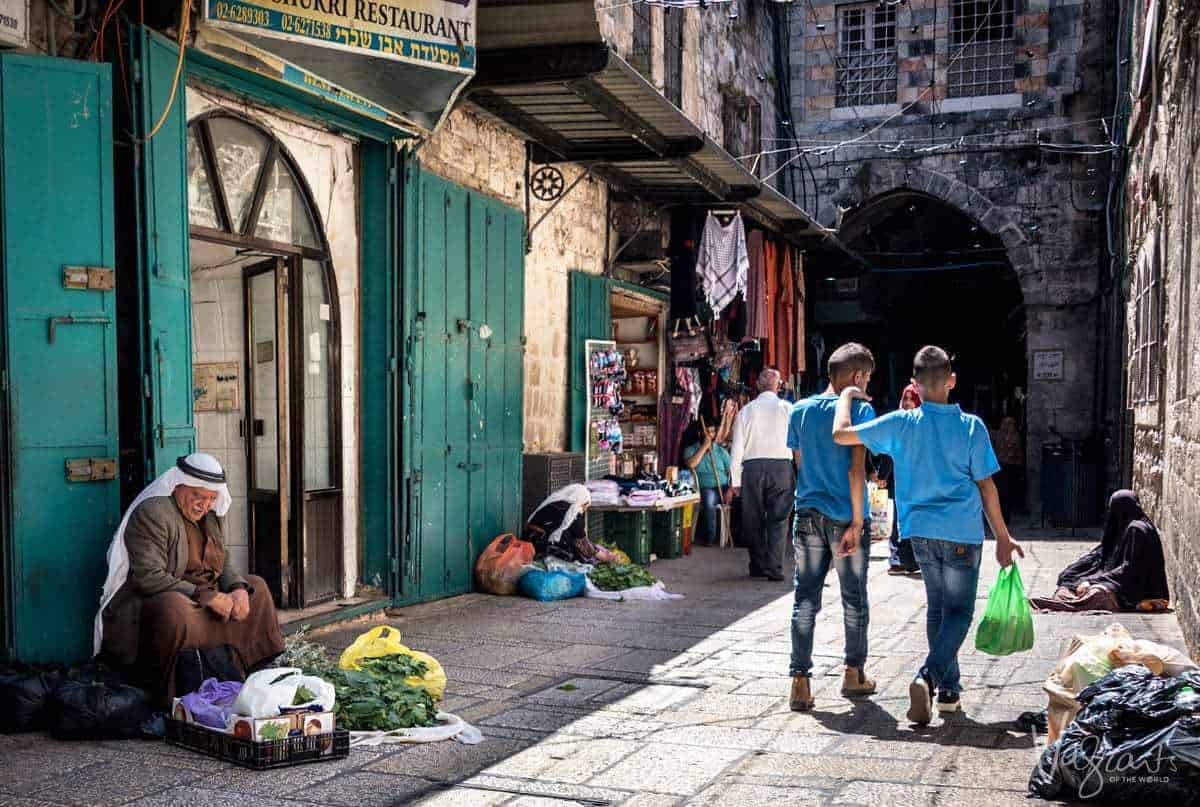 Things to see in Israel - Street vendors in the Muslim Quarter Old Town Jerusalem