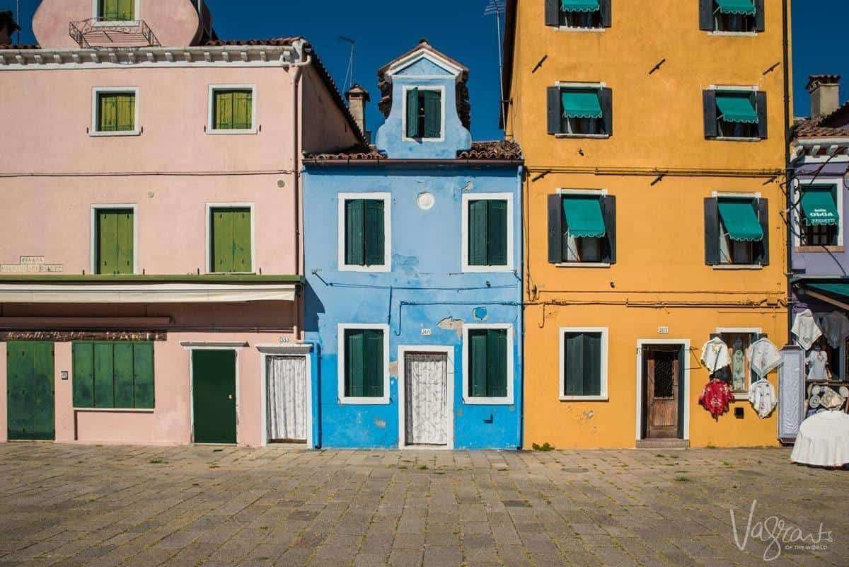 The brightly painted houses of Burano Island in Venice.