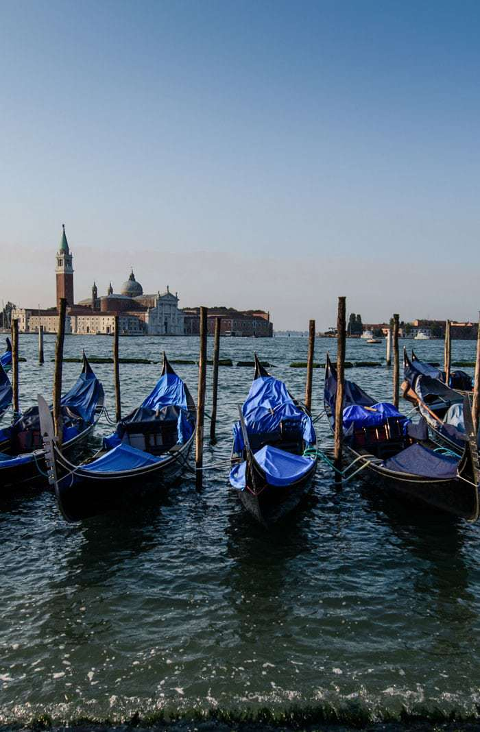 Gondolas at rest in Venice- 5 Days in Venice
