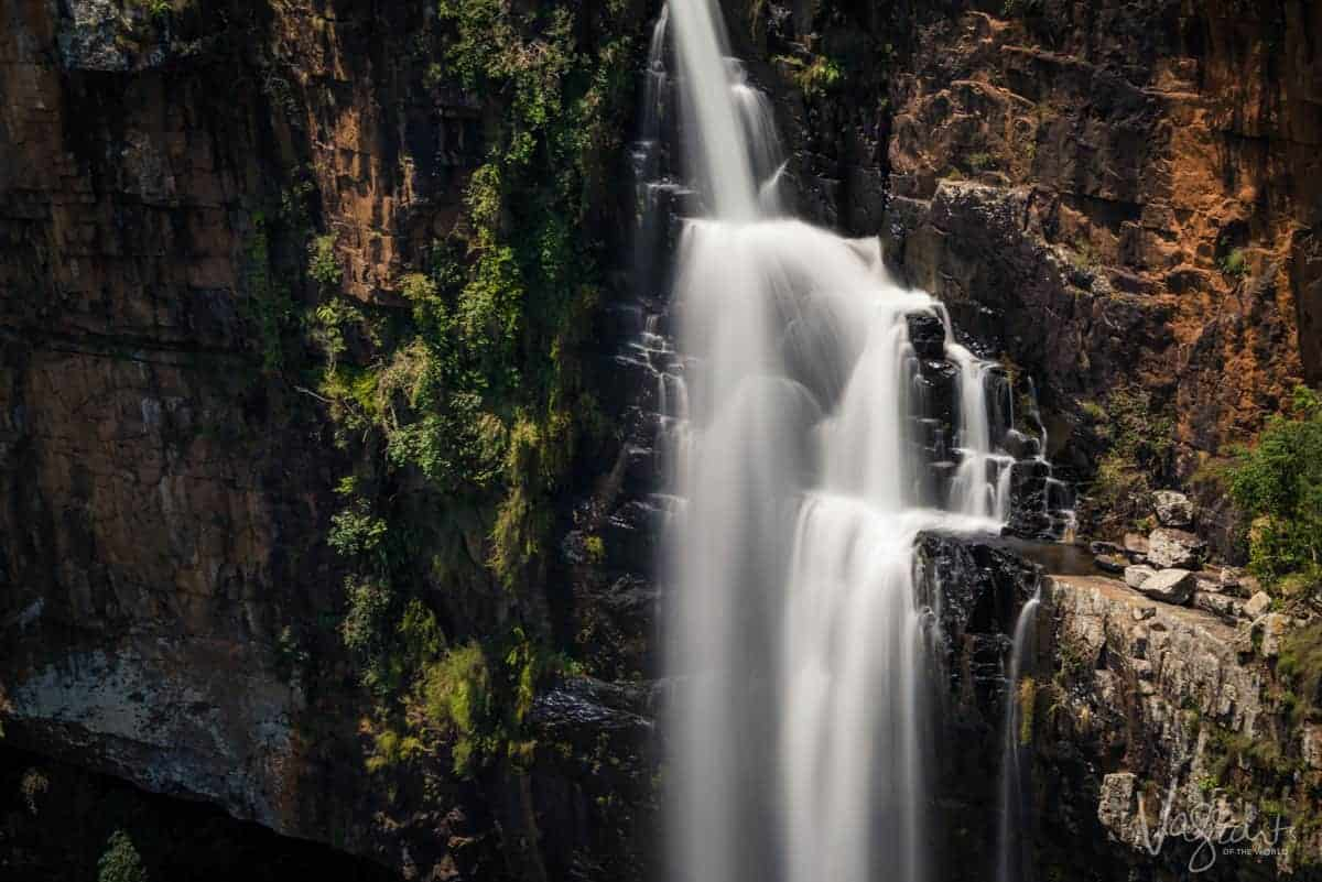 A close up of the cascading water at Berlin Falls Panorama Route South Africa