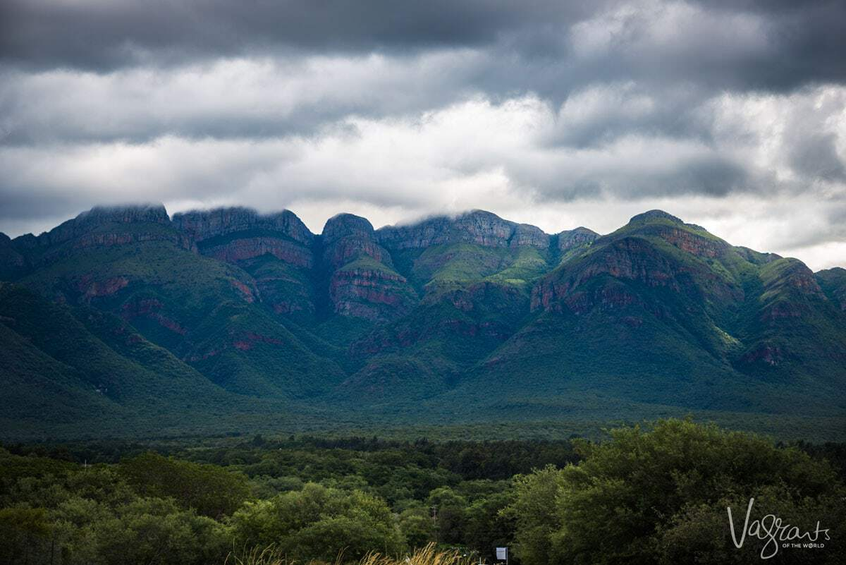 A view of the mountains under storm clouds Panorama Route South Africa