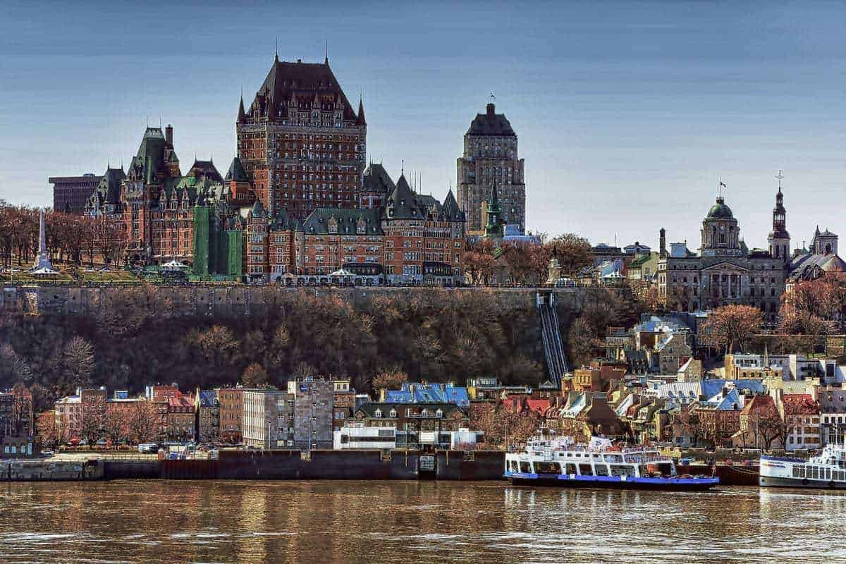 A view across the water to the Château Frontenac in Quebec City Canada best places to visit in eastern Canada