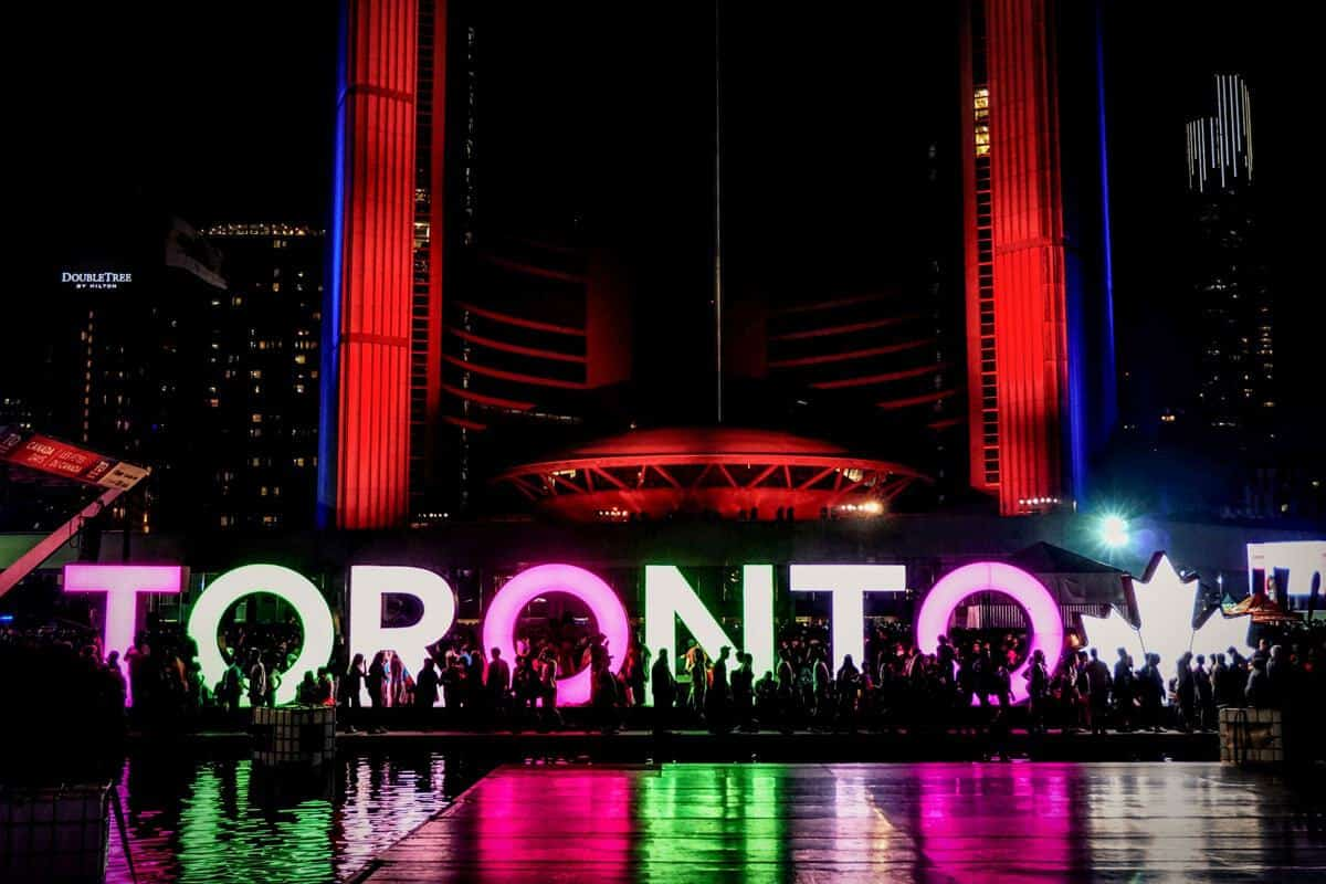 Toronto sign Nathan Phillips Square in Toronto. The relaxed atmosphere of Toronto make it one of the top cities to visit in Canada