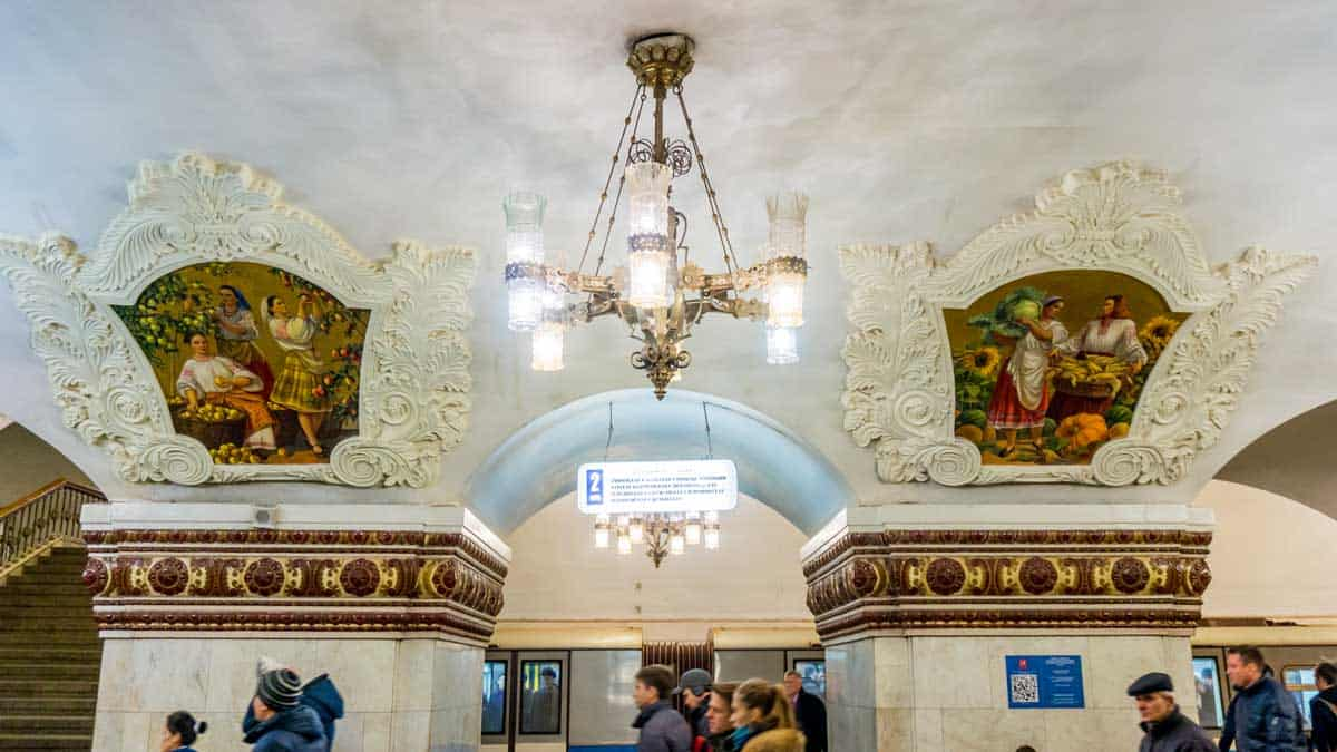 Chandeliers and mosaics in the Kievskaya Metro Station in Moscow.