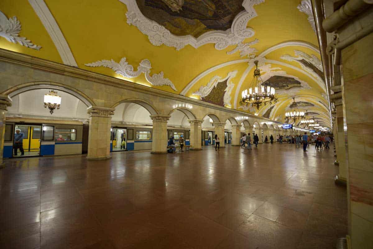 The lavish yellow Komsomolskaya Station in the Moscow Metro.