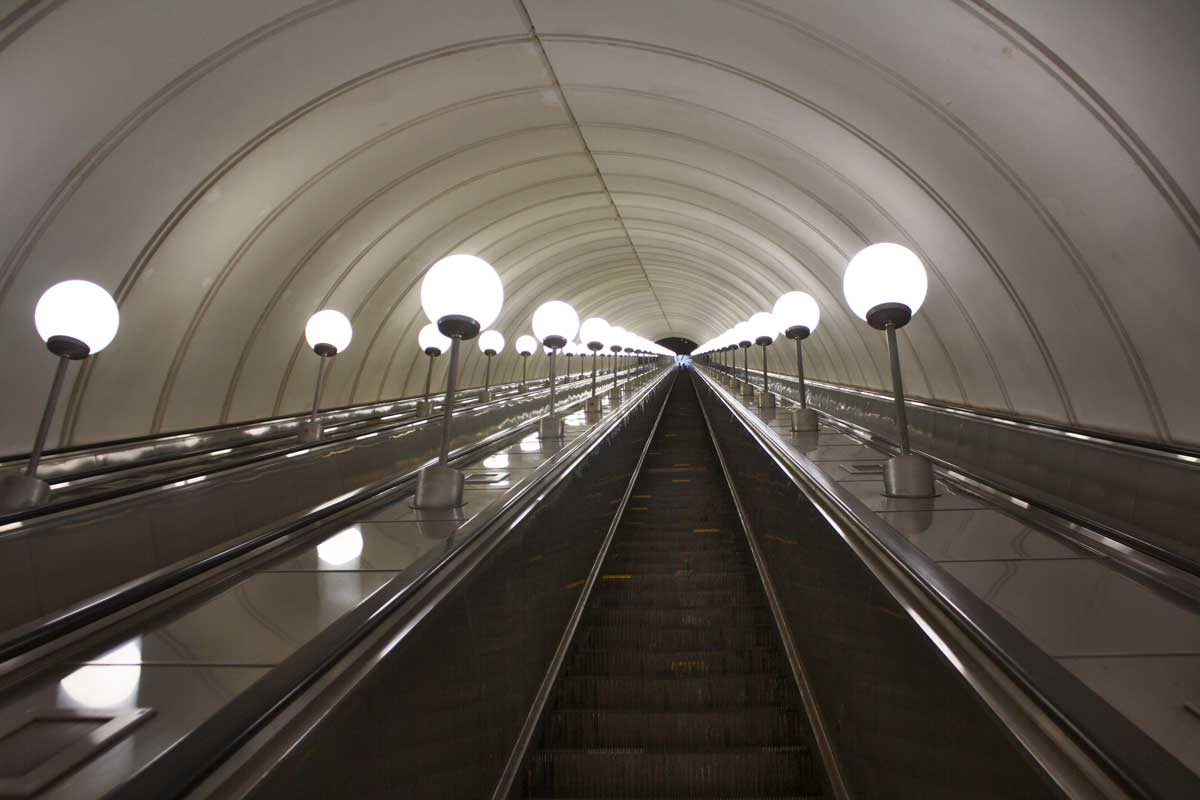 Lookin up the longest escalator in Europe at Park Pobedy station in Moscow.