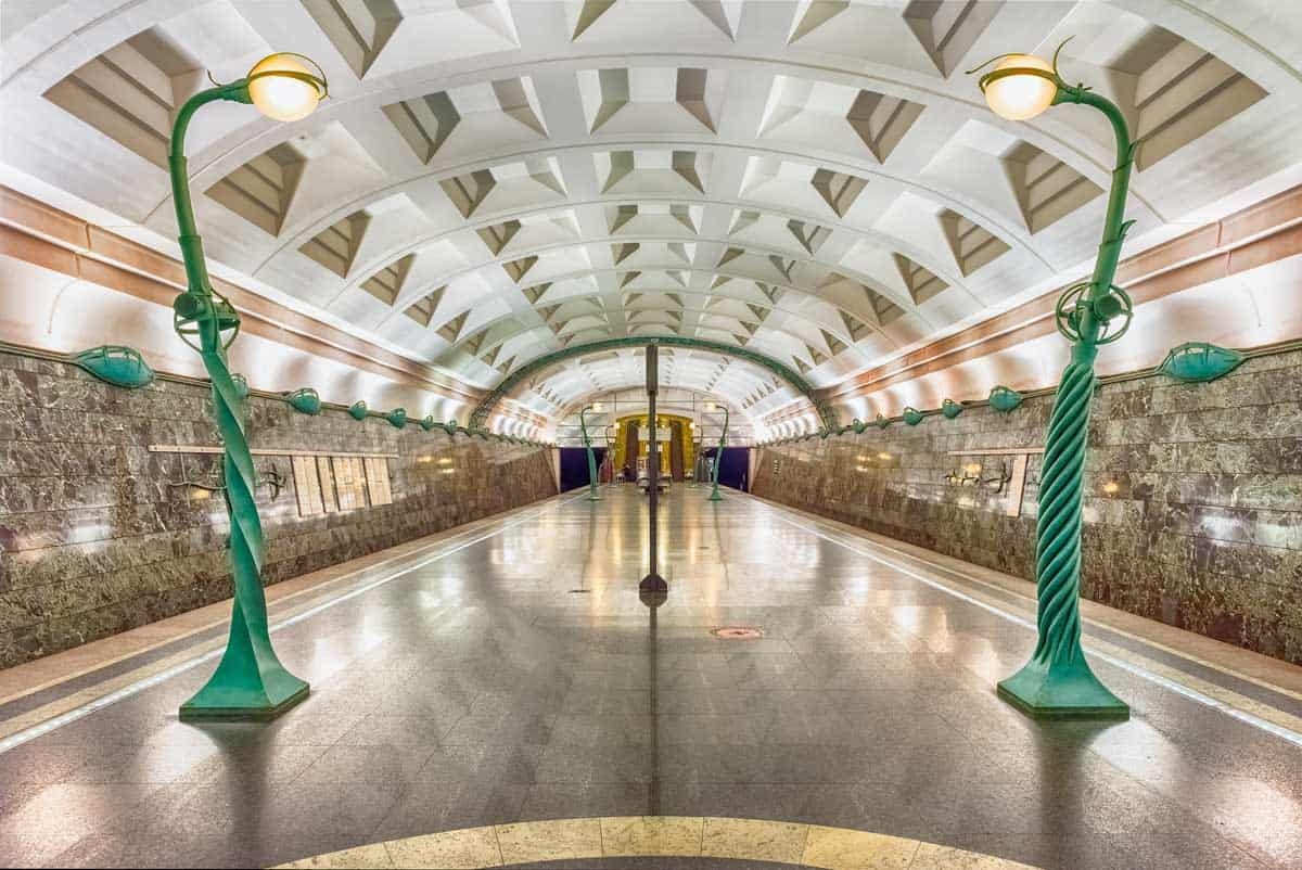 The beautiful Art Nouveau decorations on the platform of the Slavyansky Bulvar metro station.
