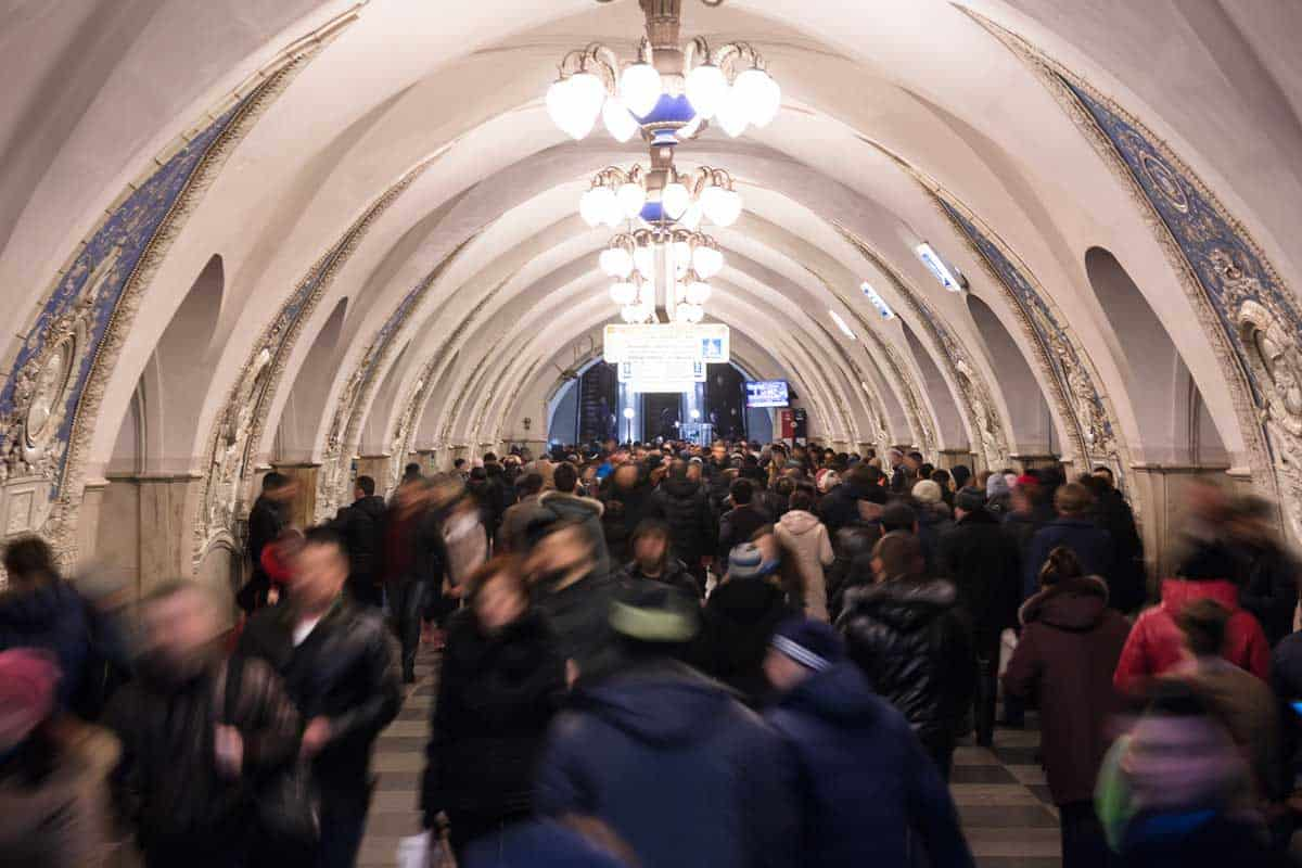 Rush hours in Taganskaya Station in the Moscow Metro.
