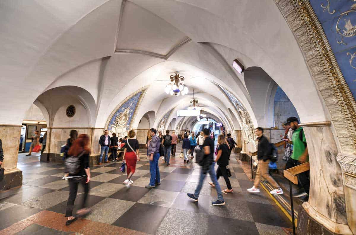 People walking through Taganskaya Station in Moscow.