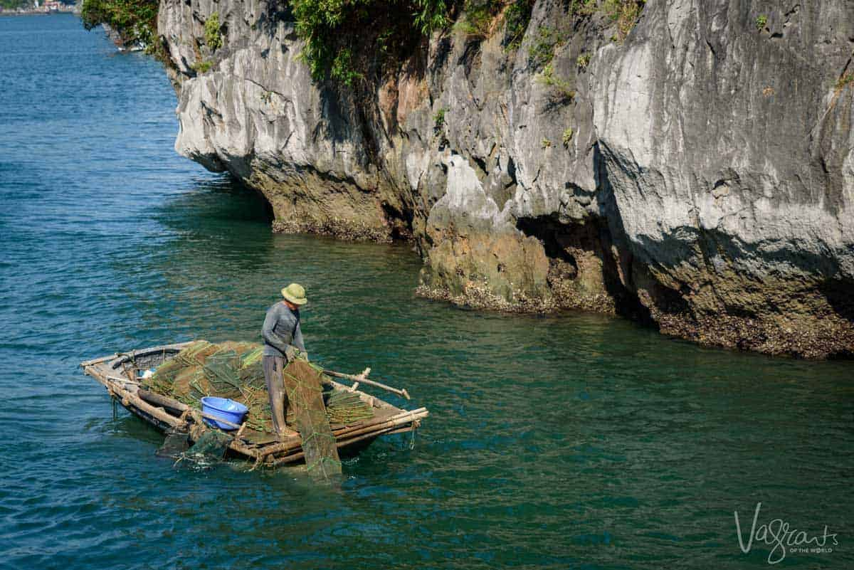 Fisherman in Halong Bay Vietnam