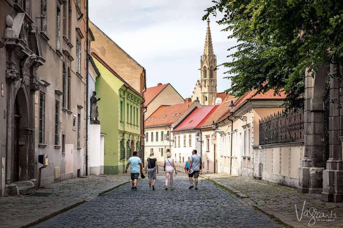 Tourists walking in Bratislava Slovakia
