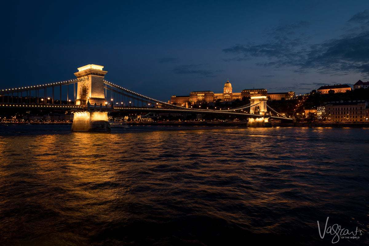 Viking Cruises Danube Waltz -Cruising down the Danube in Budapest Hungary at night
