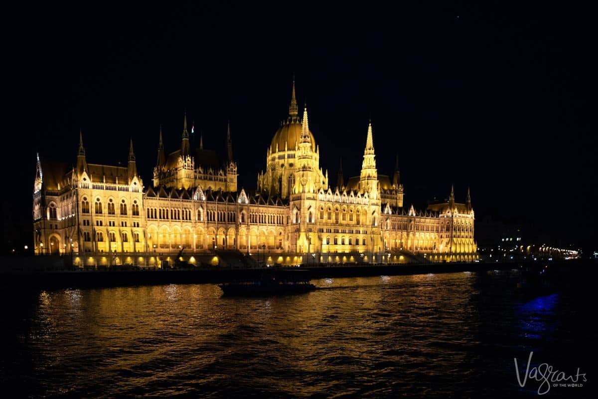 Cruising on the Danube in Budapest at night