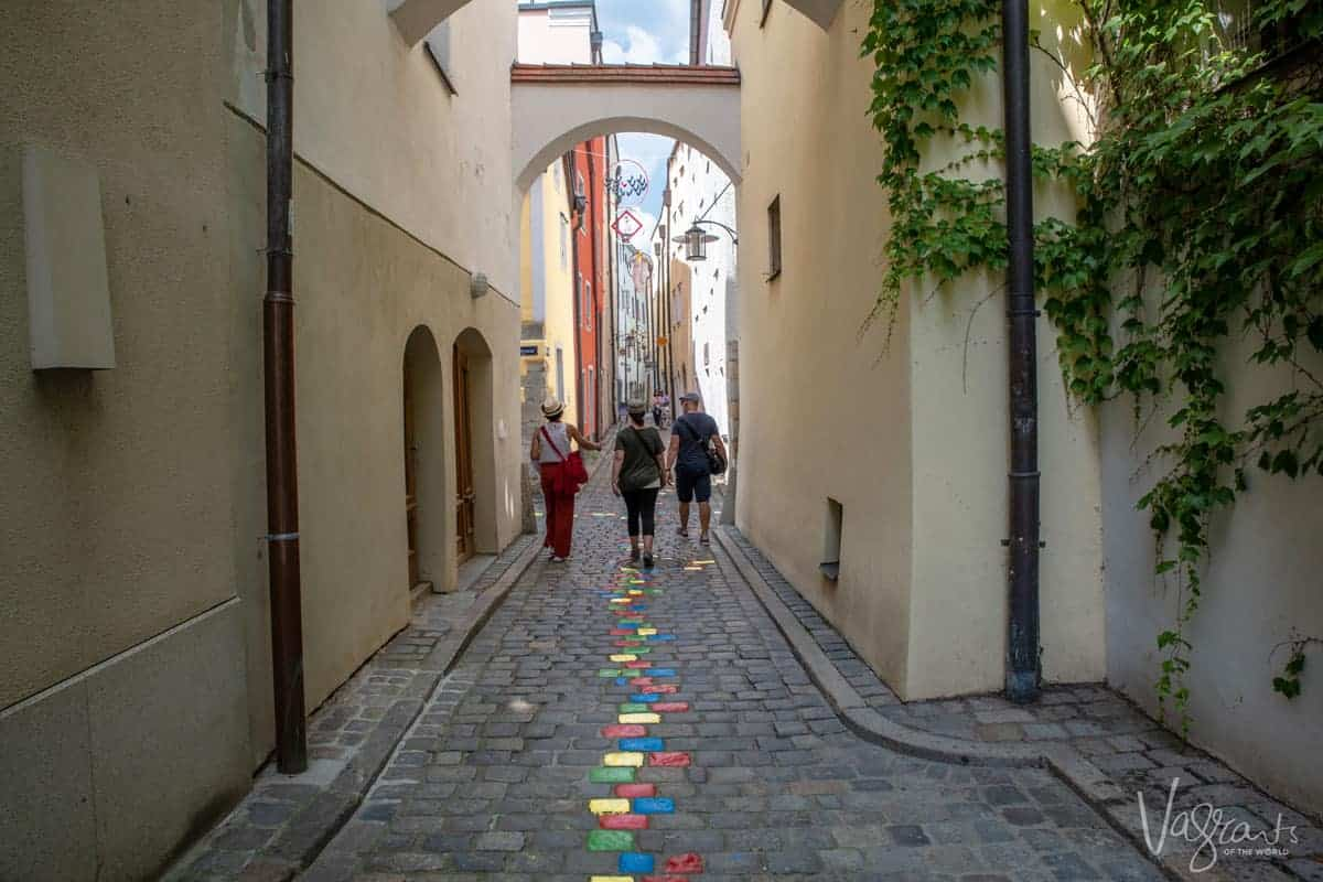 Tourists walking in Passau Germany
