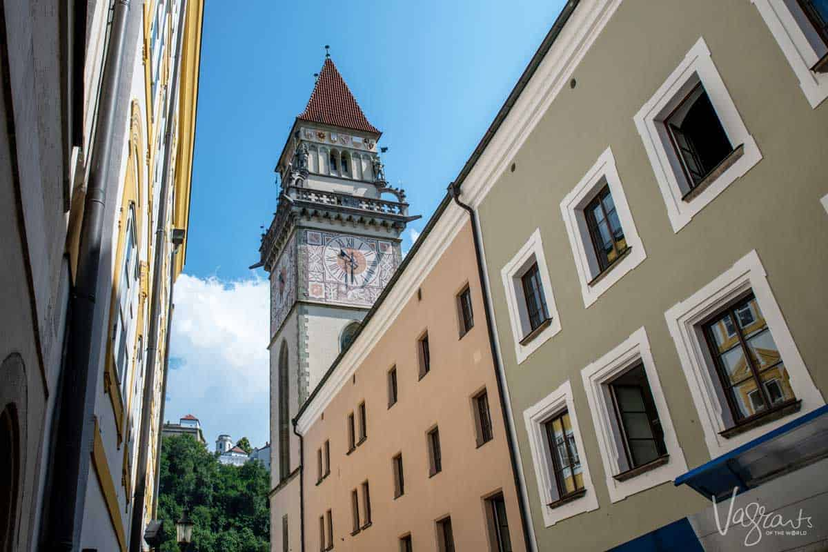 Clock tower in Passau Germany