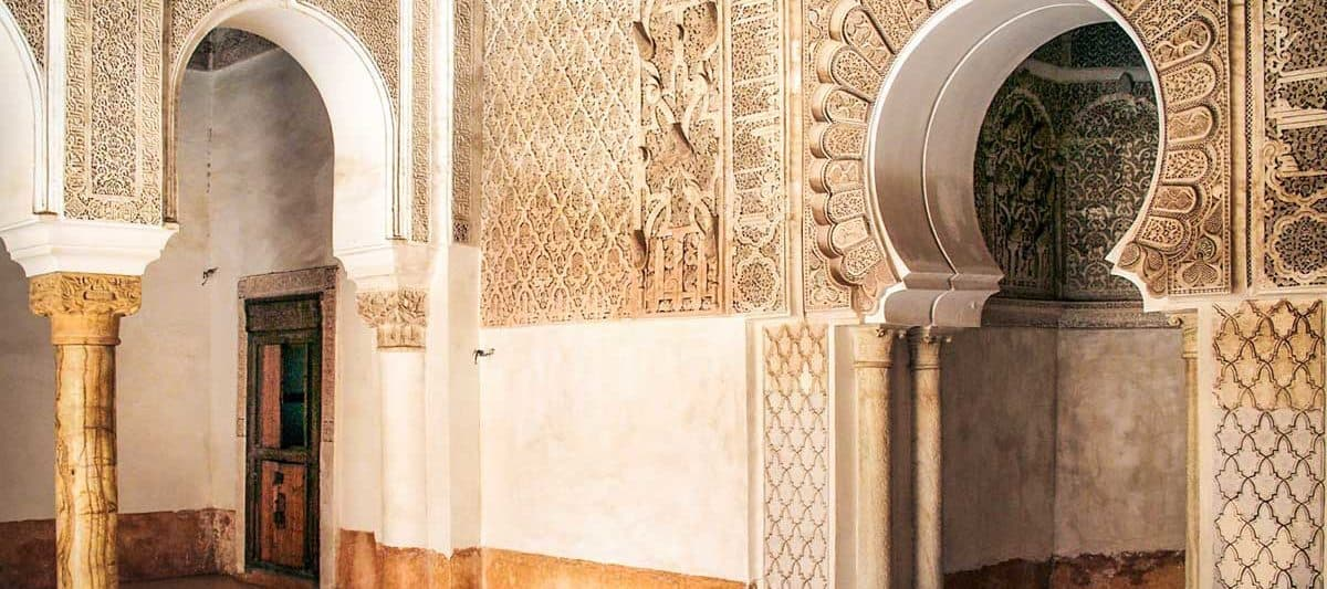 The interior of the Ben Youssef Madrasa Islamic college in Marrakech