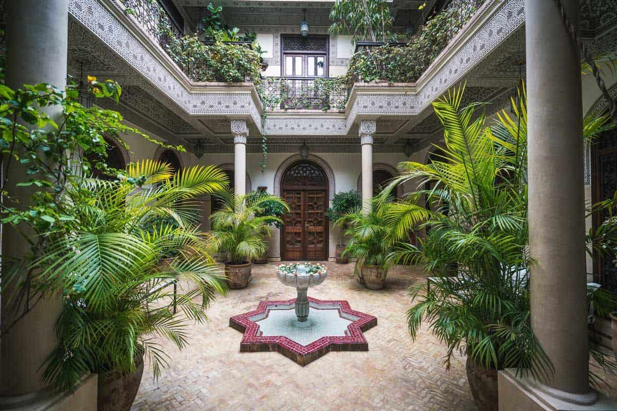 A typical Riad courtyard in Morocco.