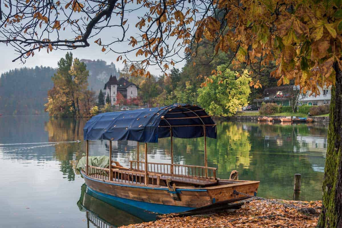 Pletna Boats on Lake Bled Slovenia in Autumn
