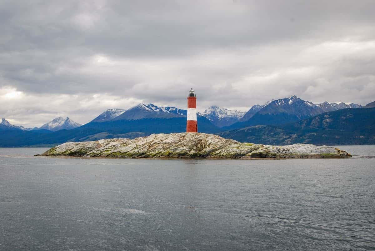 Lighthouse on rock island Patagonia