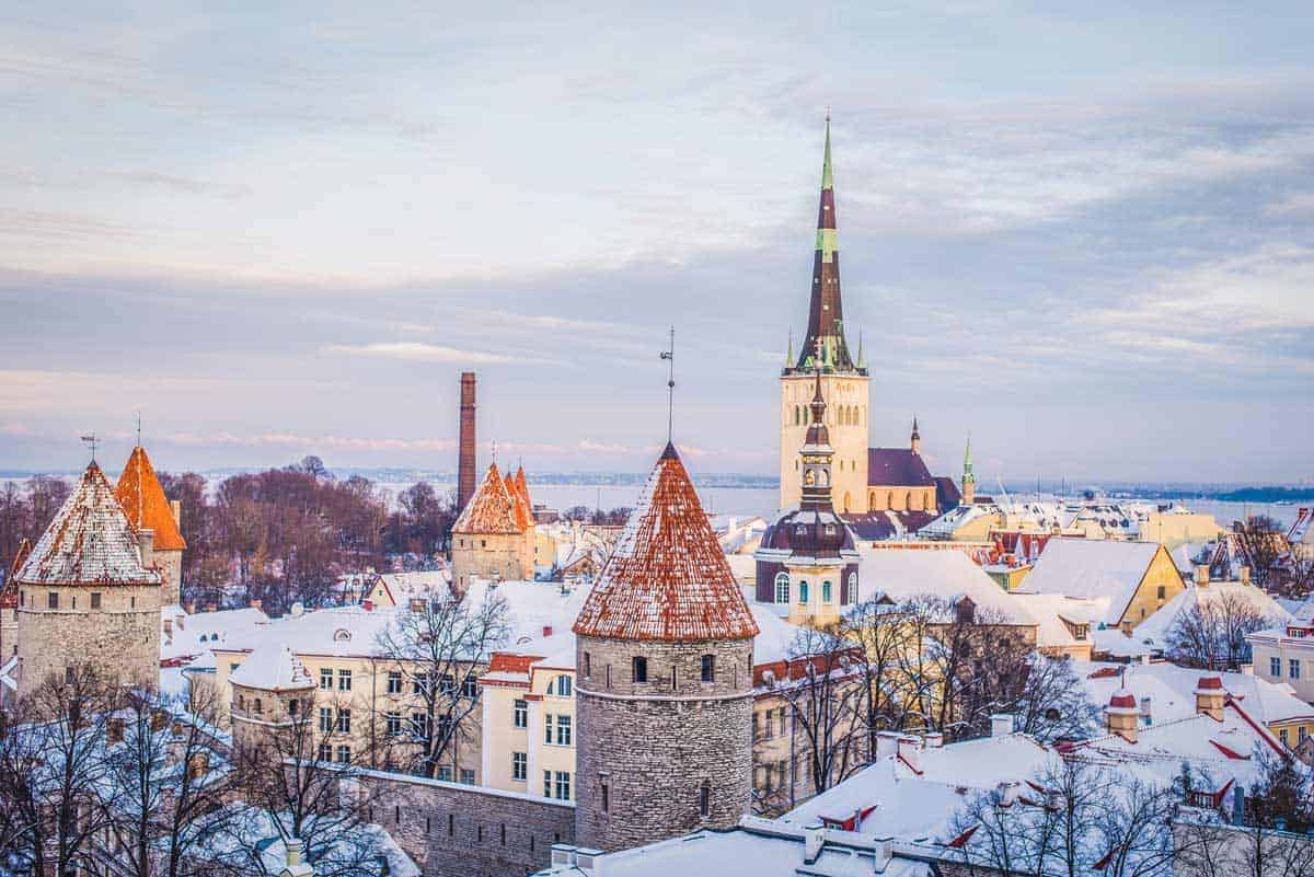 visiting the Baltic States in winter is so beautiful as you can see from the city skyline of the old town of Tallinn Estonia