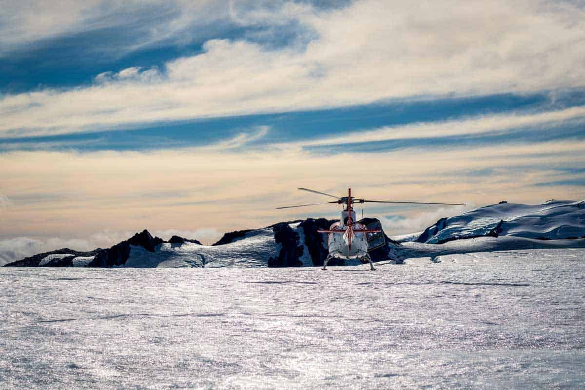 One of the most exciting things to do in winter in Europe is to land on a Glacier in a helicopter like here in Switzerland