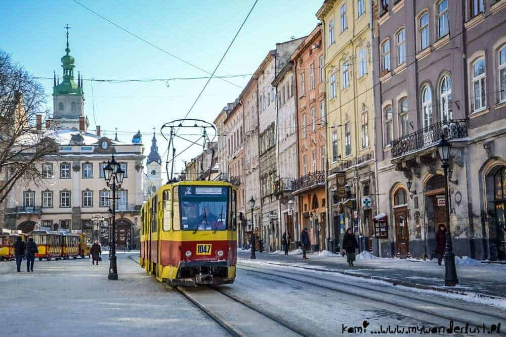 A tram in the city of Lviv in Ukraine in winter