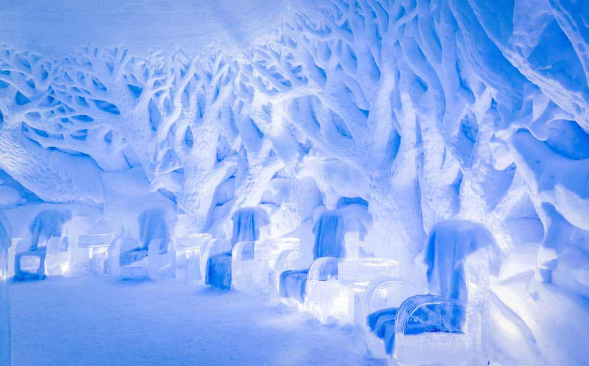 Staying in an ice hotel completely carved from ice is one of the most unique things you can do in Europe in winter