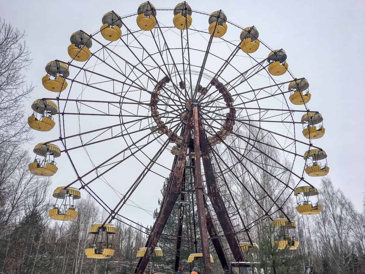 Abandoned ferris wheel in Chernobyl. One of the unique things to do in winter in Europe