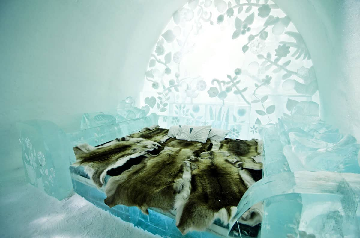 Staying in an ice hotel is one of the most unique things to do in Europe in Winter