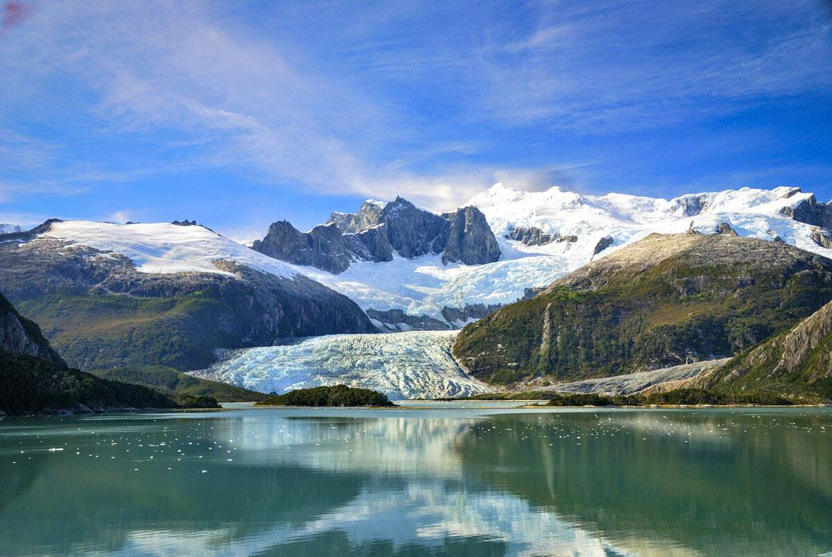 Glaciers seen in Patagonias Tierra del Fuego while sailing on the ferry from Punta Arenas and Isla Navarino