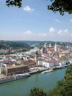 An arial view of Passau showing the river and city in the backdrop on a beautiful sunny blue day. How do you pack for a river cruise, well you pack mostly to the conditions you are expecting and types of shore excursions you decide to go on. Don't forget our anti theft bags you want to be safe on our cruise.