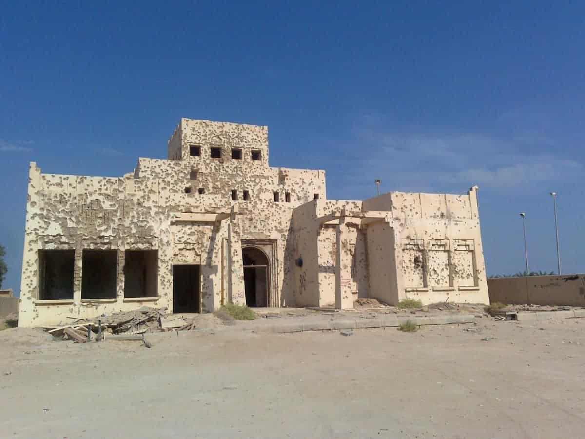 Bullet ridden desert type building in Failaka Island Kuwait.