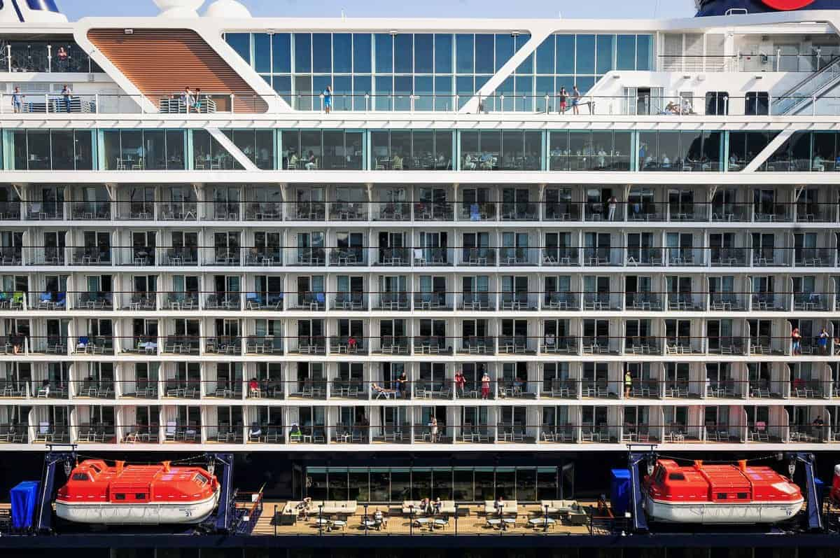 Looking at rows of balconies on a large cruise ship. Safe Cruise tip - Remember your balcony is anoth access point to your cabin. Always keep it locked, especially in port.