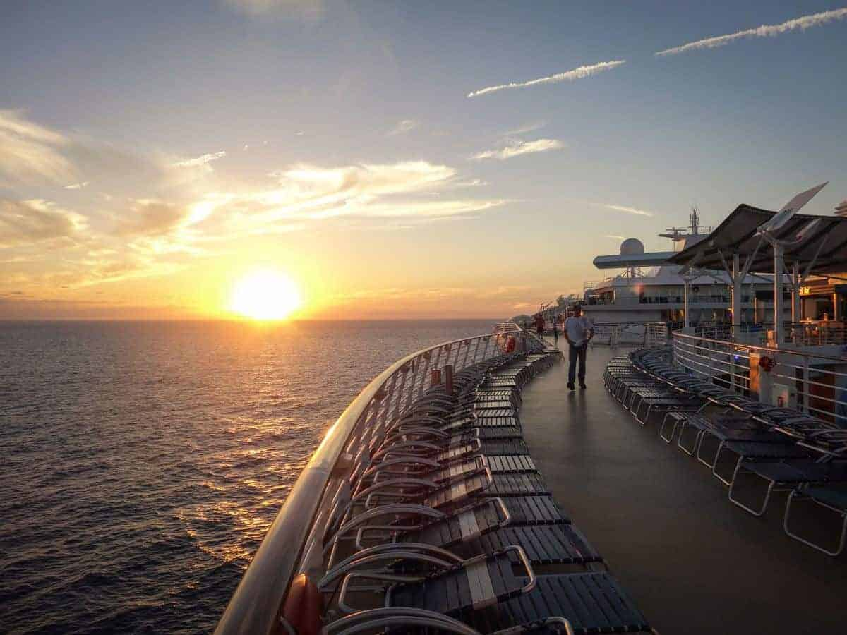 Cruise ship deck at sunset. Always remeber to be careful when on deck, especially if you have been drinking. Just one way to stay safe on a cruise.