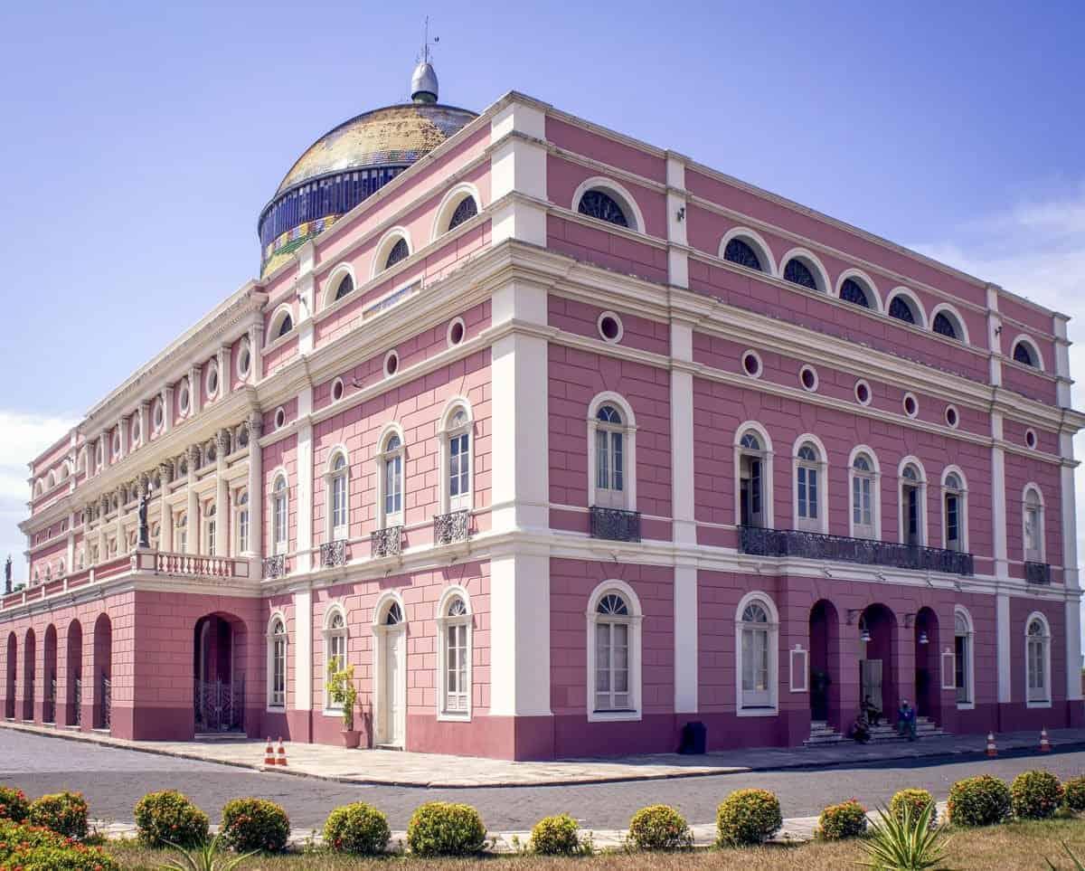 Pink and white brick Amazon Theatre.