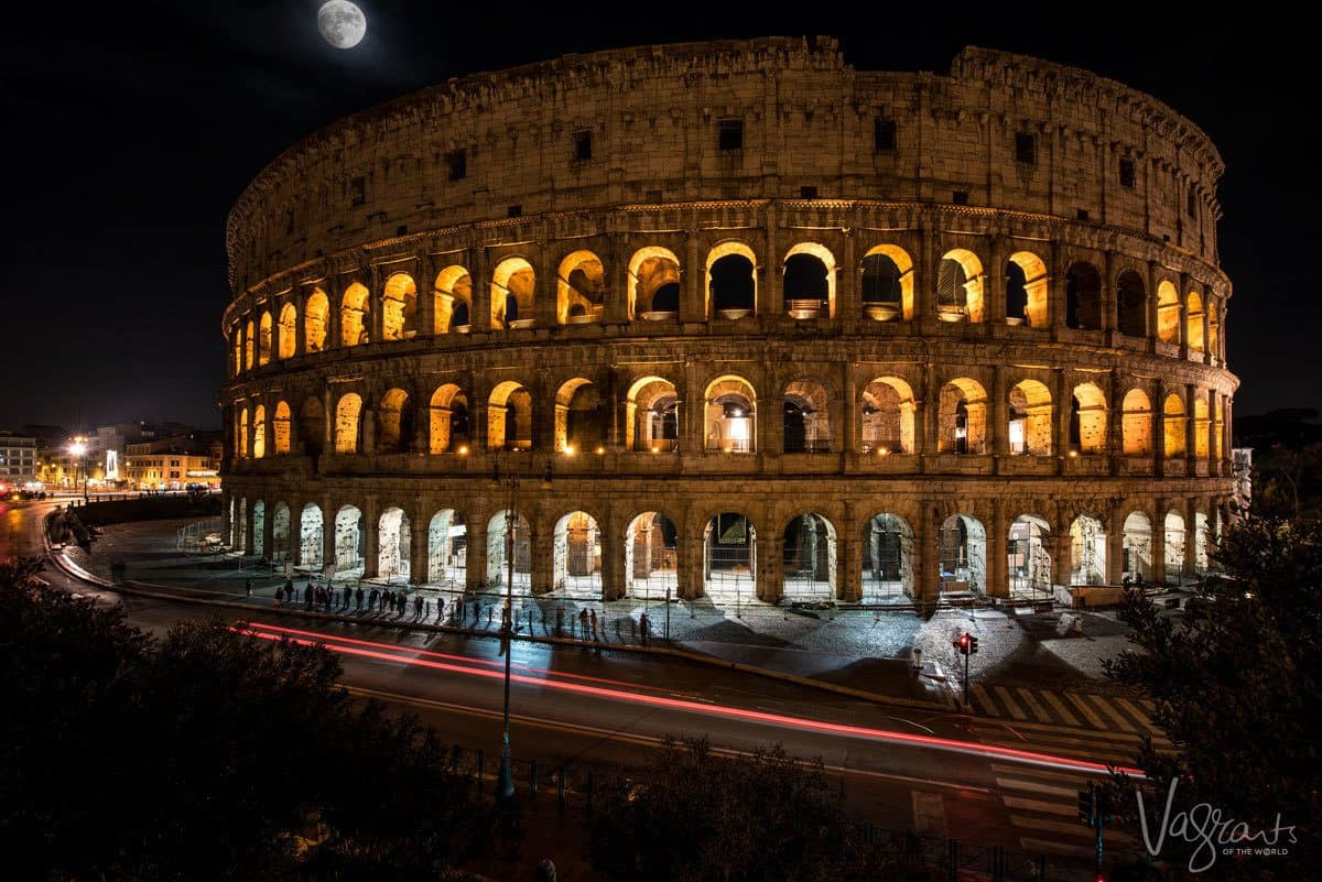 Long exposure photo of the Roman Colosseum at night.