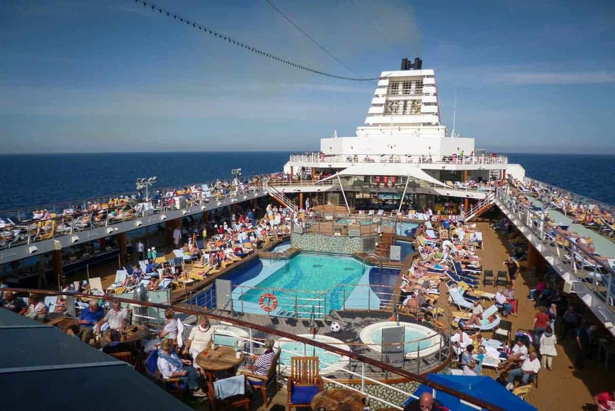 Cruise ships are like small cities as you can see by all the people around this ships pool. Keep your valuables safe by the pool with a good anti theft bag or leaving valuables in your room.