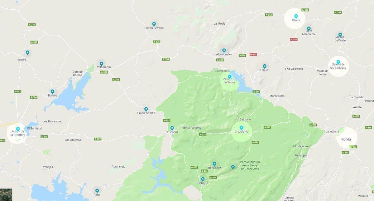 Pueblos Blancos Spain Map