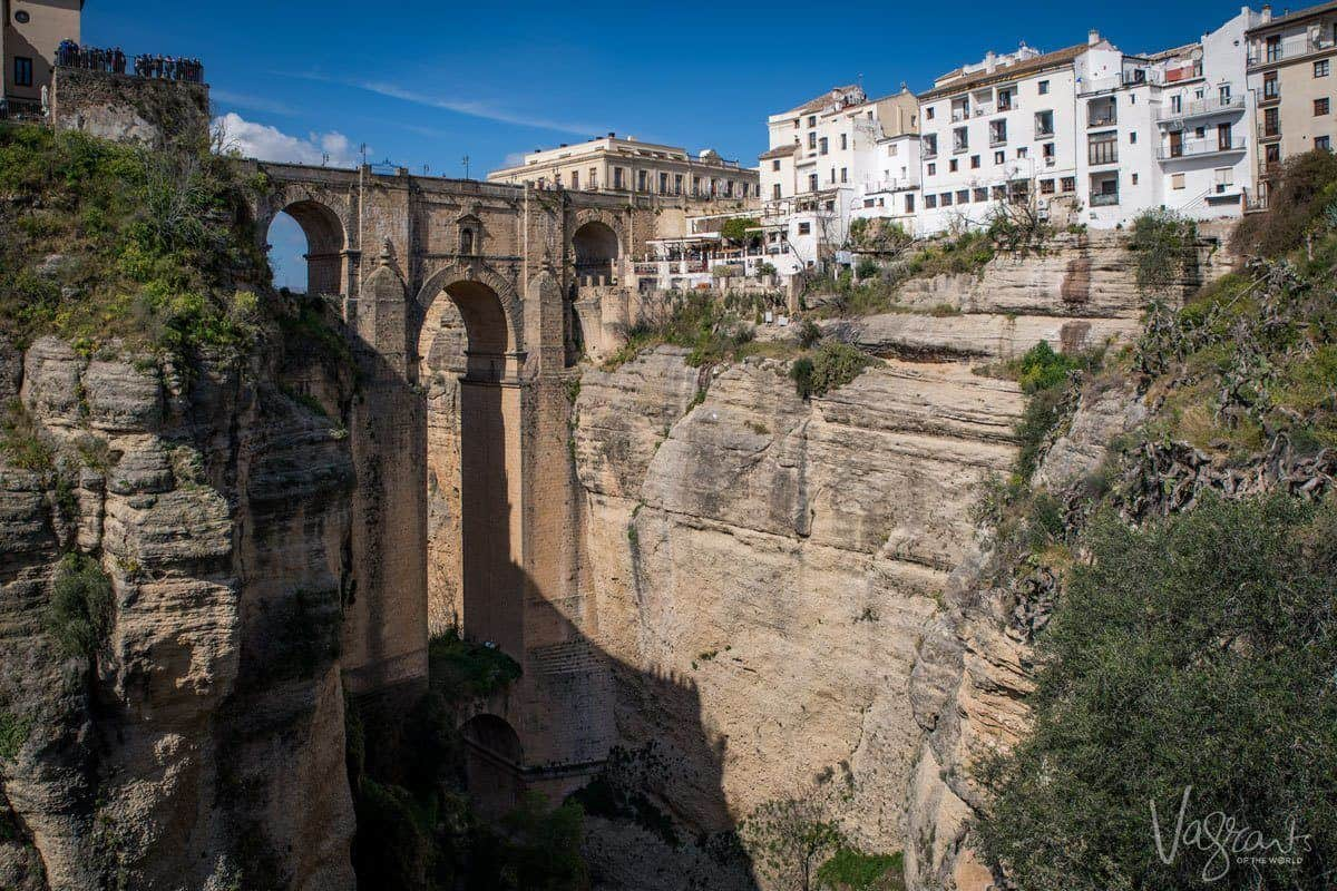 Bridge spanning the ravine in Ronda Spain the largest of the white villages Spain.