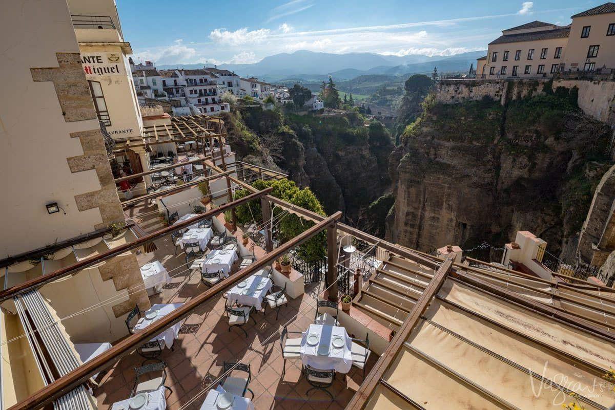 Terrace restaurant overlooking the ravine in Ronda Spain.