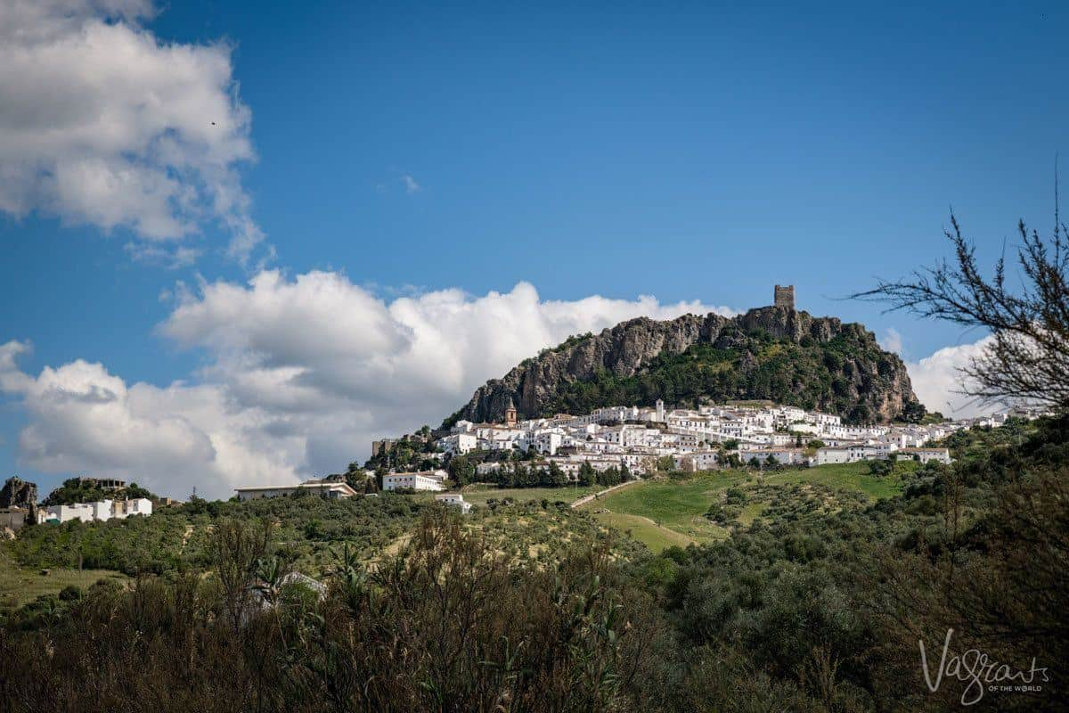 Castle above the while village of Zahara de la Sierra Spain, a stop here on any white villages route is a must if you are touring southern Spain.