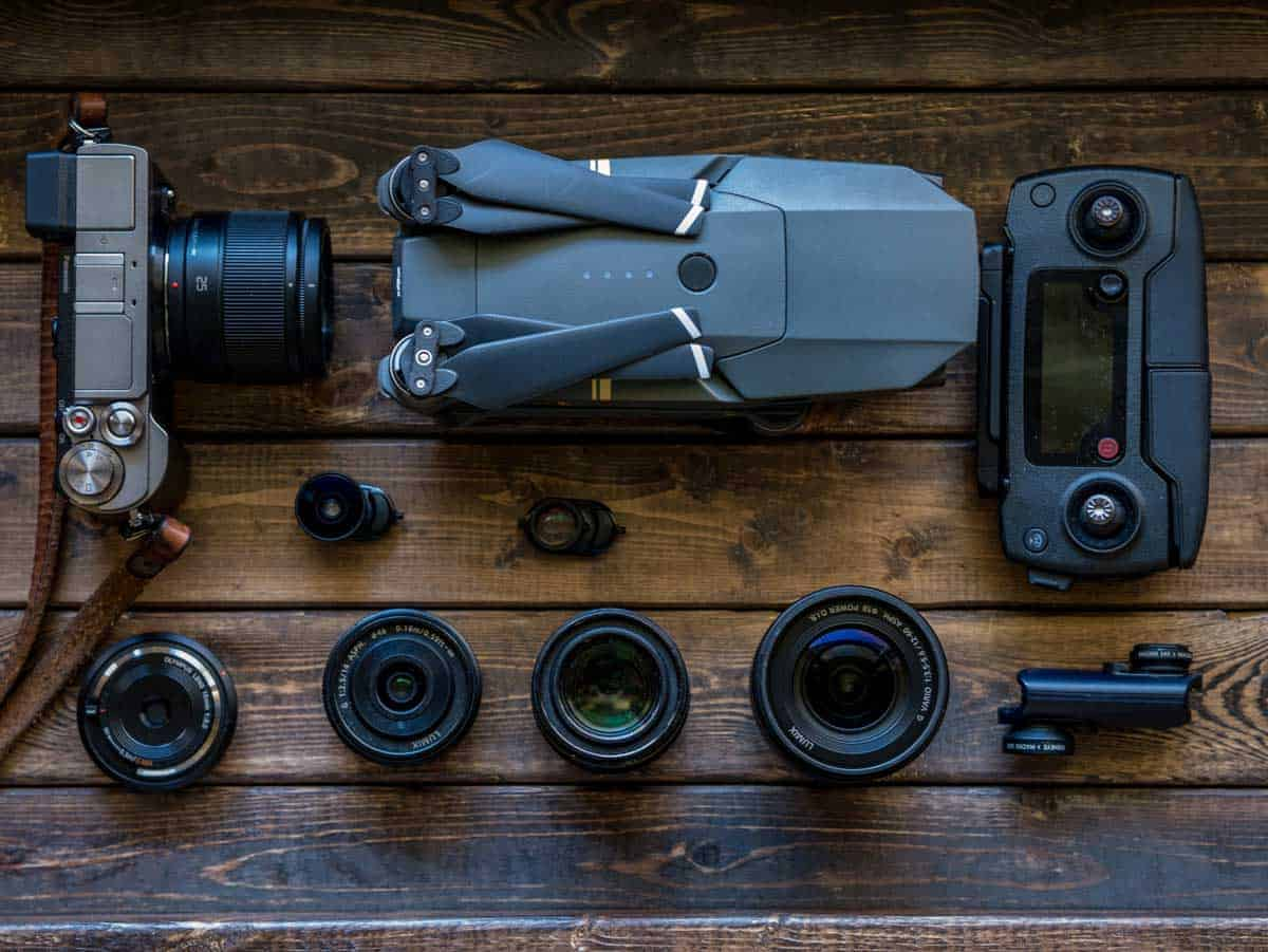 Safe Travel Tips before you go. Photograph your gear. Photographic gear and drone laid out on table